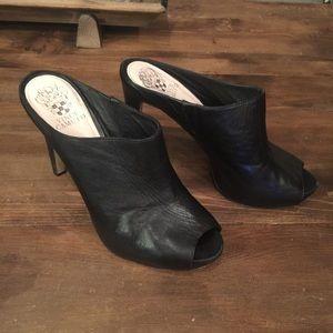 Vince Camuto Black Leather Peep Toe Skinny Heels